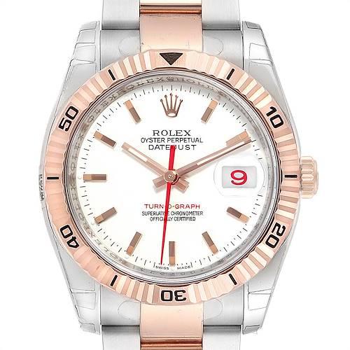 Photo of Rolex Turnograph Datejust Steel Rose Gold White Dial Watch 116261 Unworn