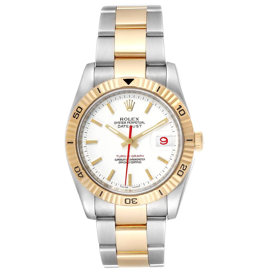 25113 Rolex Datejust Turnograph Steel Yellow Gold Red Hand Mens Watch 116263 SwissWatchExpo