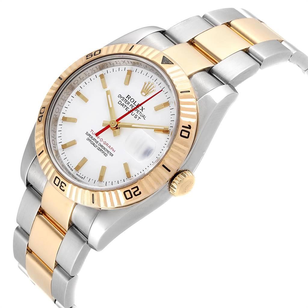 Rolex Datejust Turnograph Steel Yellow Gold Red Hand Mens Watch 116263 SwissWatchExpo
