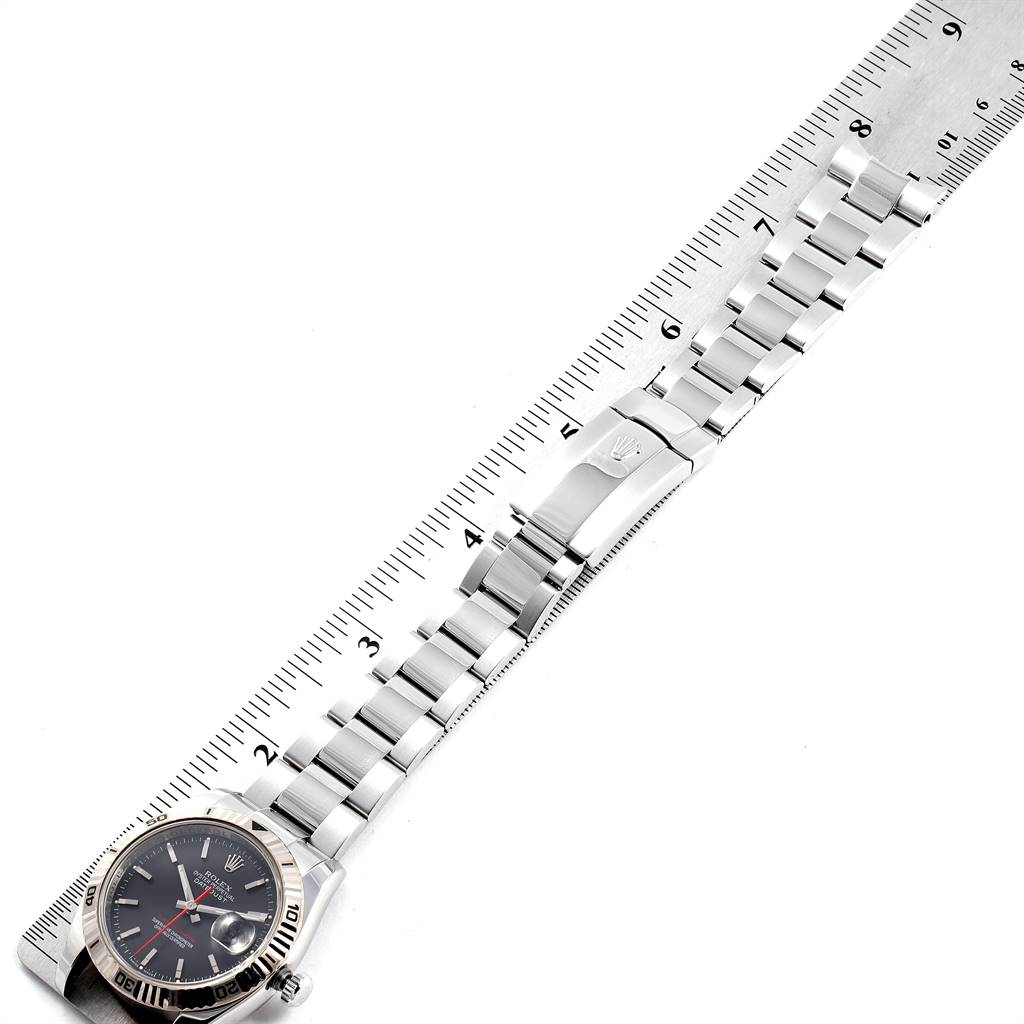 25082 Rolex Datejust Turnograph Black Dial Steel Mens Watch 116264 Box Card SwissWatchExpo