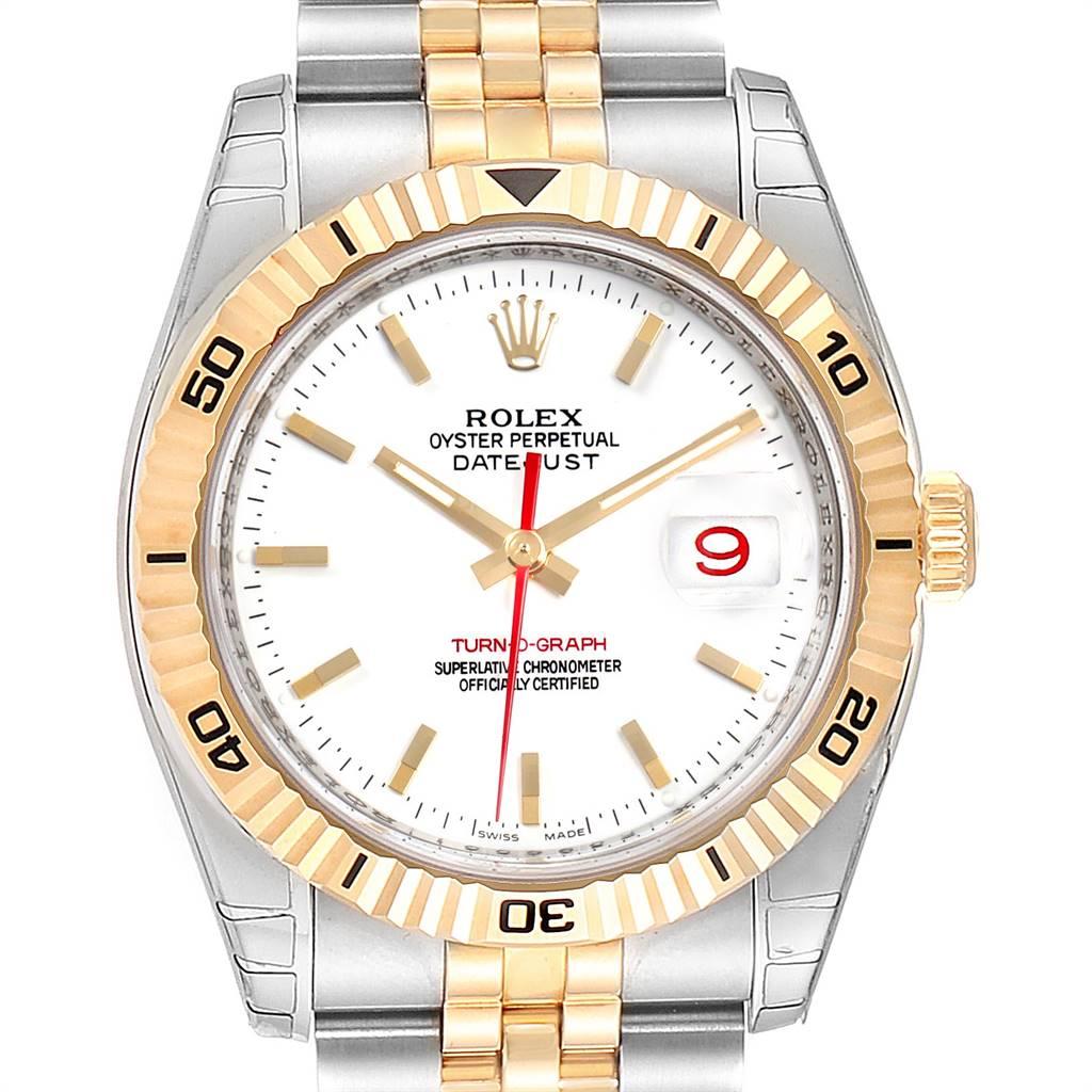 Rolex Datejust Turnograph Steel Yellow Gold Mens Watch 116263 Unworn