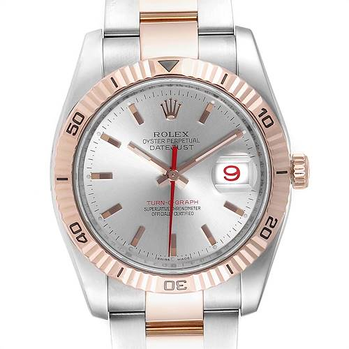 Photo of Rolex Turnograph Datejust Steel EveRose Gold Watch 116261 Box Papers