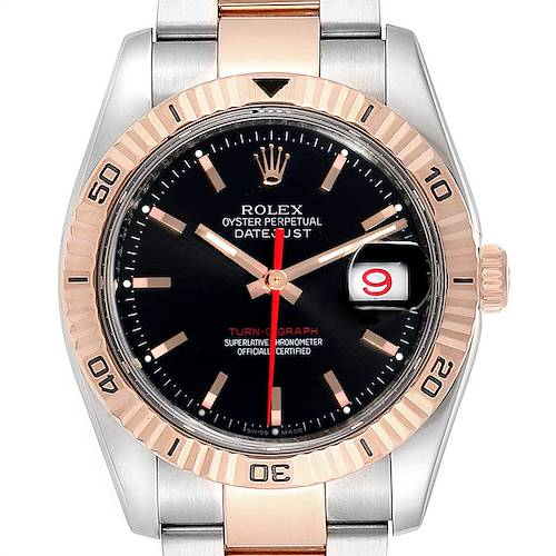 Photo of Rolex Turnograph Datejust Steel Rose Gold Mens Watch 116261 Box Papers
