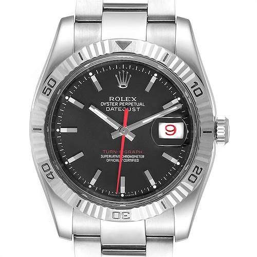 Photo of Rolex Datejust Turnograph Black Dial Steel Mens Watch 116264 Box Papers