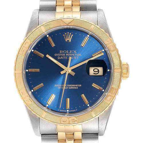 Photo of Rolex Datejust Turnograph Blue Dial Steel Yellow Gold Mens Watch 16263