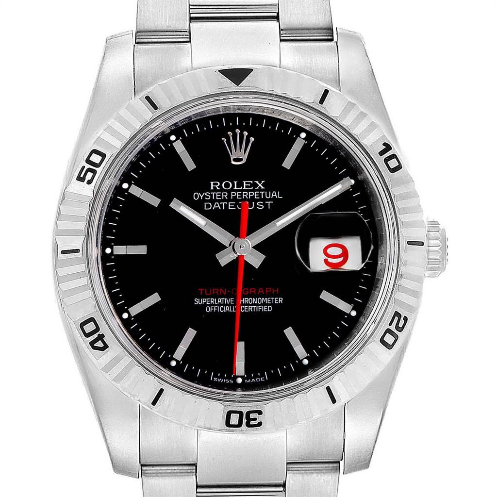 Rolex Datejust Turnograph 36mm Red Hand Steel Mens Watch 116264