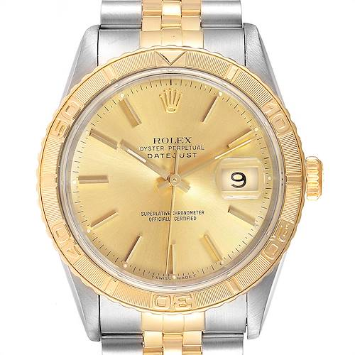 Photo of Rolex Datejust Turnograph Steel Yellow Gold Tapestry Dial Watch 16263