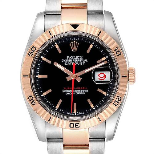 Photo of Rolex Thunderbird Turnograph Steel Rose Gold Black Dial Watch 116261