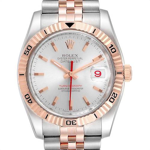 Photo of Rolex Turnograph Datejust Steel Rose Gold Silver Dial Mens Watch 116261