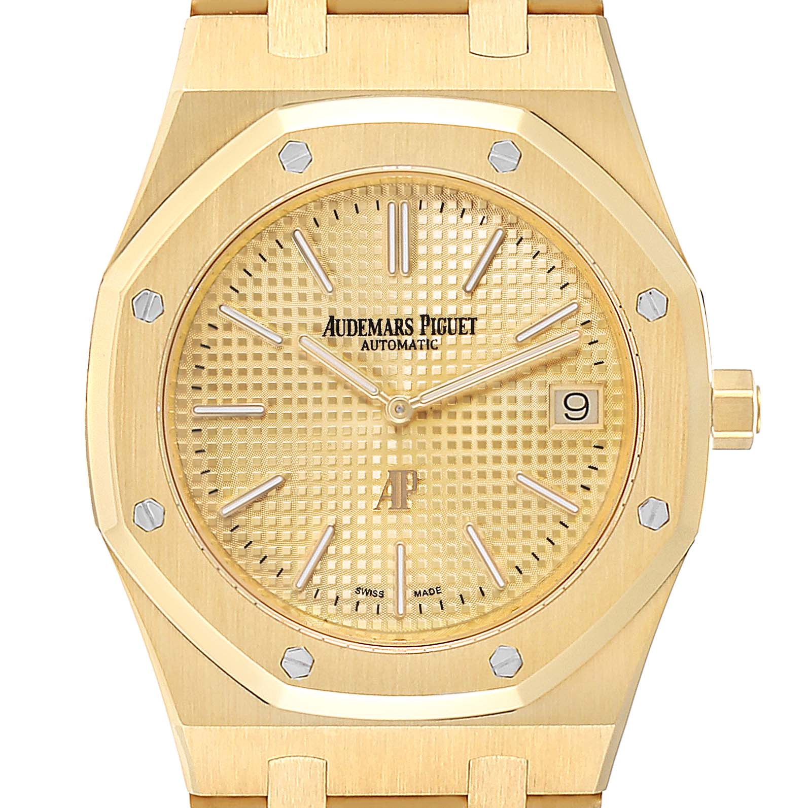 Audemars Piguet Royal Oak Yellow Gold Mens Watch 15202BA Box Papers