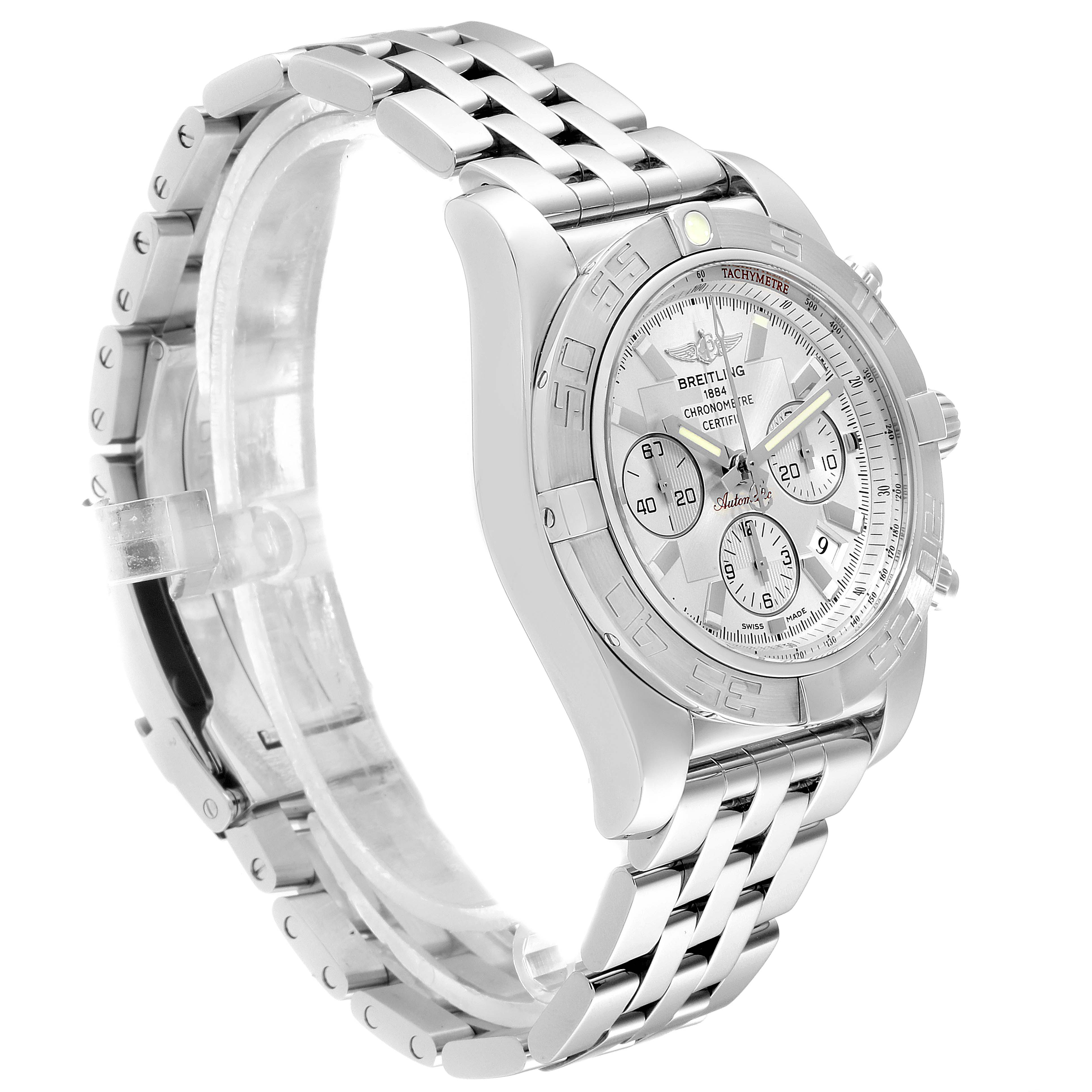 Breitling Chronomat 01 MOP Dial Steel Mens Watch AB0110 Box Papers SwissWatchExpo
