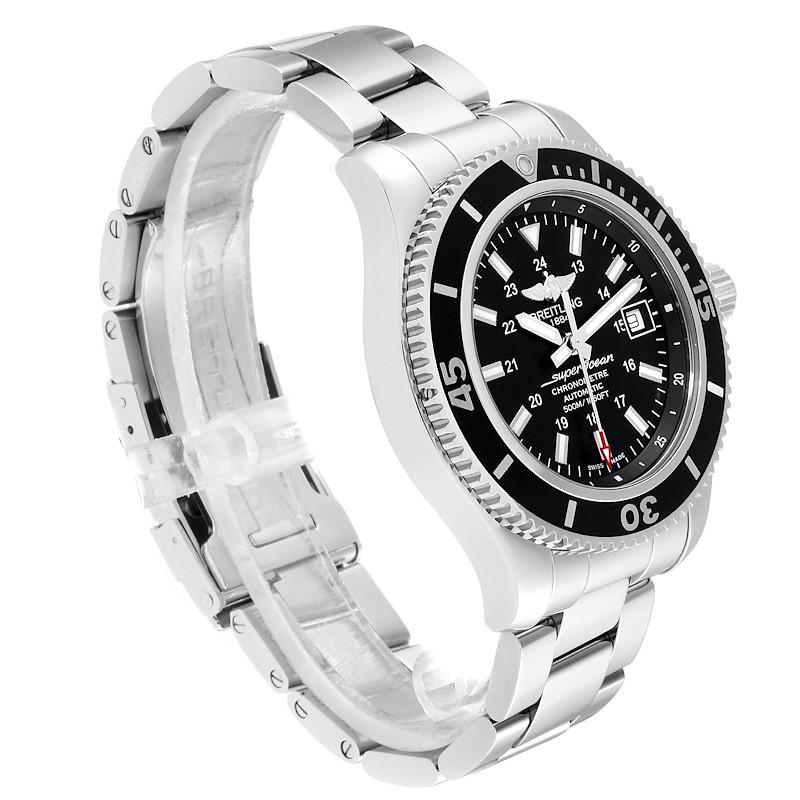 Breitling Superocean II Black Dial Steel Mens Watch A17365 Box Papers SwissWatchExpo