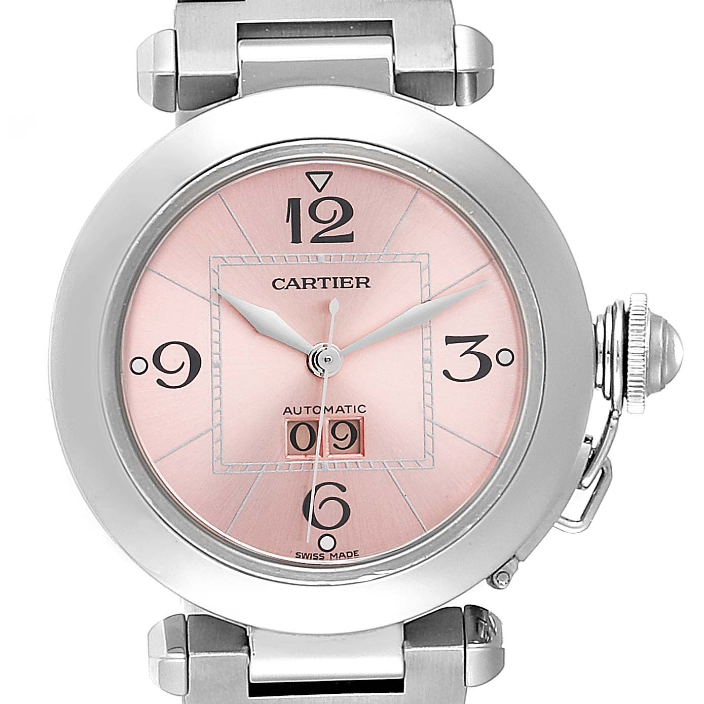 Cartier Pasha 35mm Pink Dial Steel Ladies Watch W31058M7 Box Papers