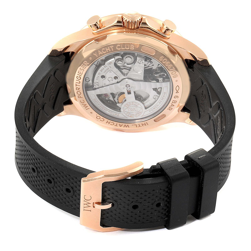 IWC Portuguese Yacht Club Rose Gold Chronograph Watch IW390209 Box Papers SwissWatchExpo