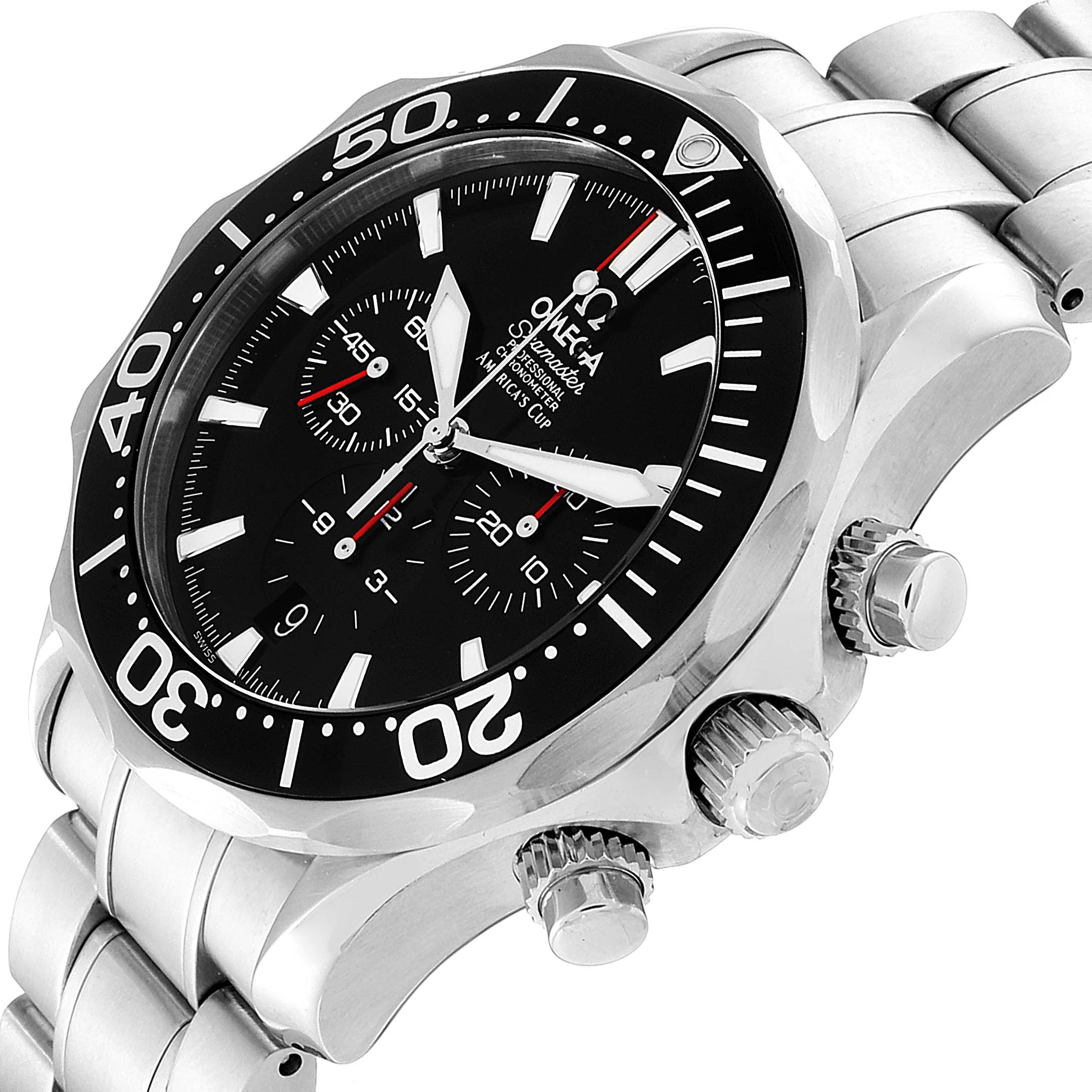 Omega Seamaster 300M Chronograph Americas Cup Watch 2594.50.00 Box Card SwissWatchExpo