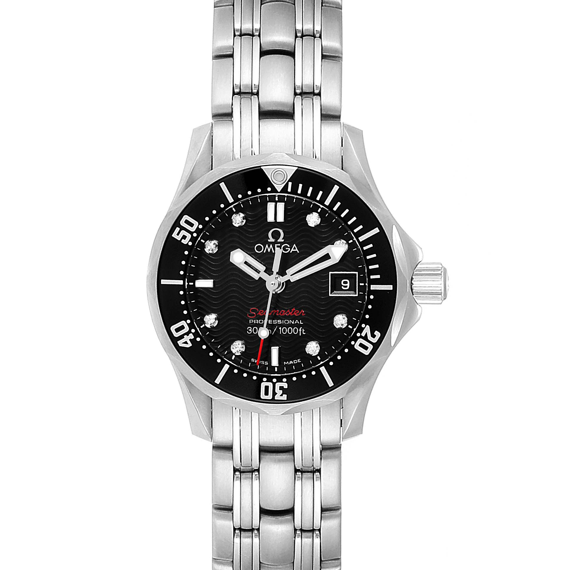 Omega Seamaster Black Dial Diamond Ladies Watch 212.30.28.61.51.001 SwissWatchExpo
