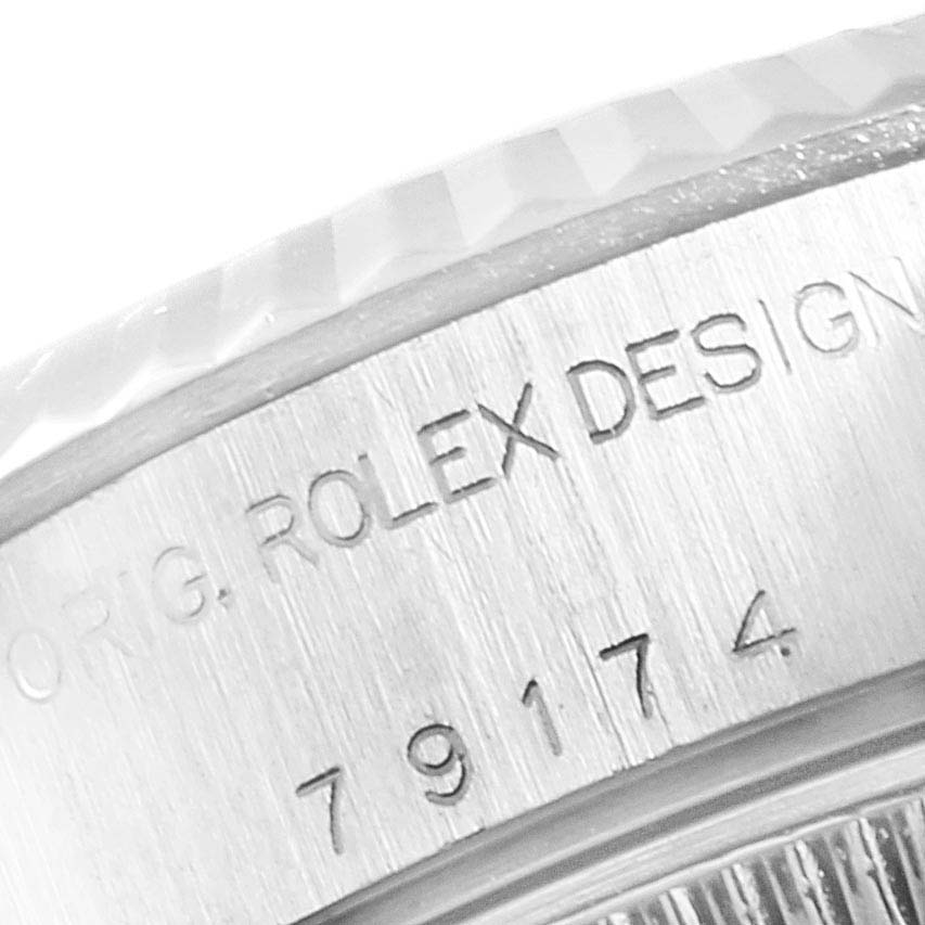 Rolex Datejust Steel White Gold Black Diamond Dial Ladies Watch 79174 SwissWatchExpo