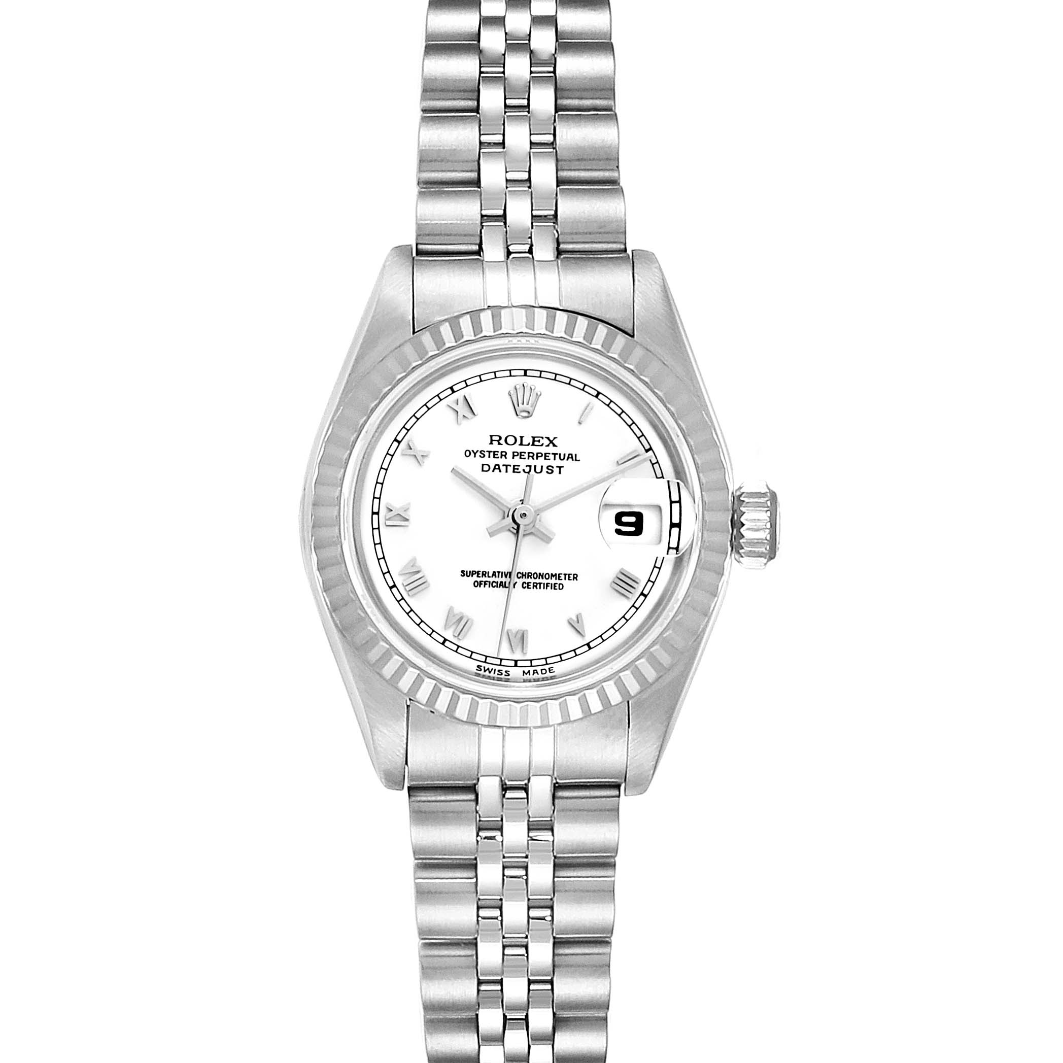 Rolex Datejust Steel White Gold Roman Dial Ladies Watch 69174 Box Papers SwissWatchExpo