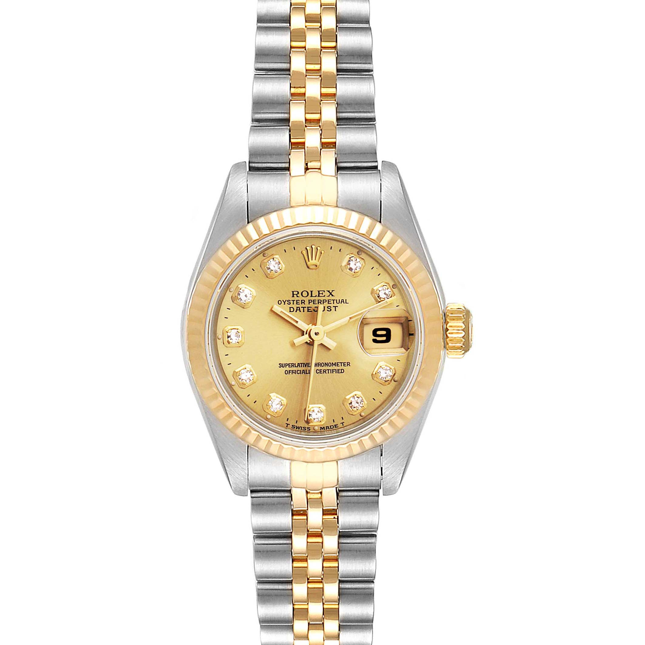 Rolex Datejust Steel Yellow Gold Diamond Dial Ladies Watch 69173 Box Papers