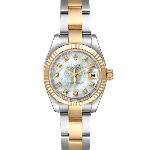 Photo of Rolex Datejust Steel Yellow Gold MOP Diamond Ladies Watch 179173 Box Papers