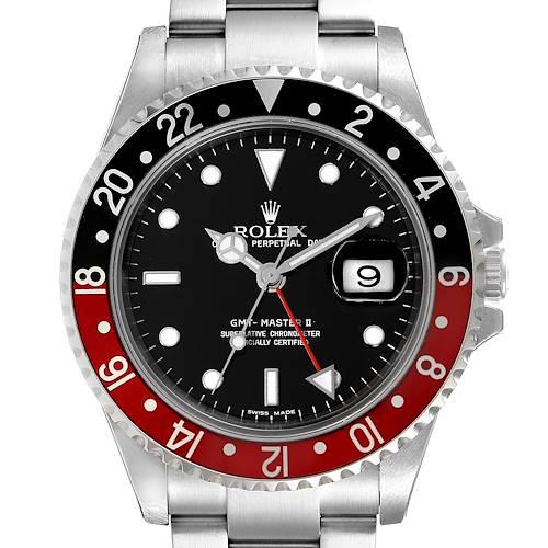 Photo of Rolex GMT Master II Black Red Coke Bezel Mens Watch 16710 Unworn