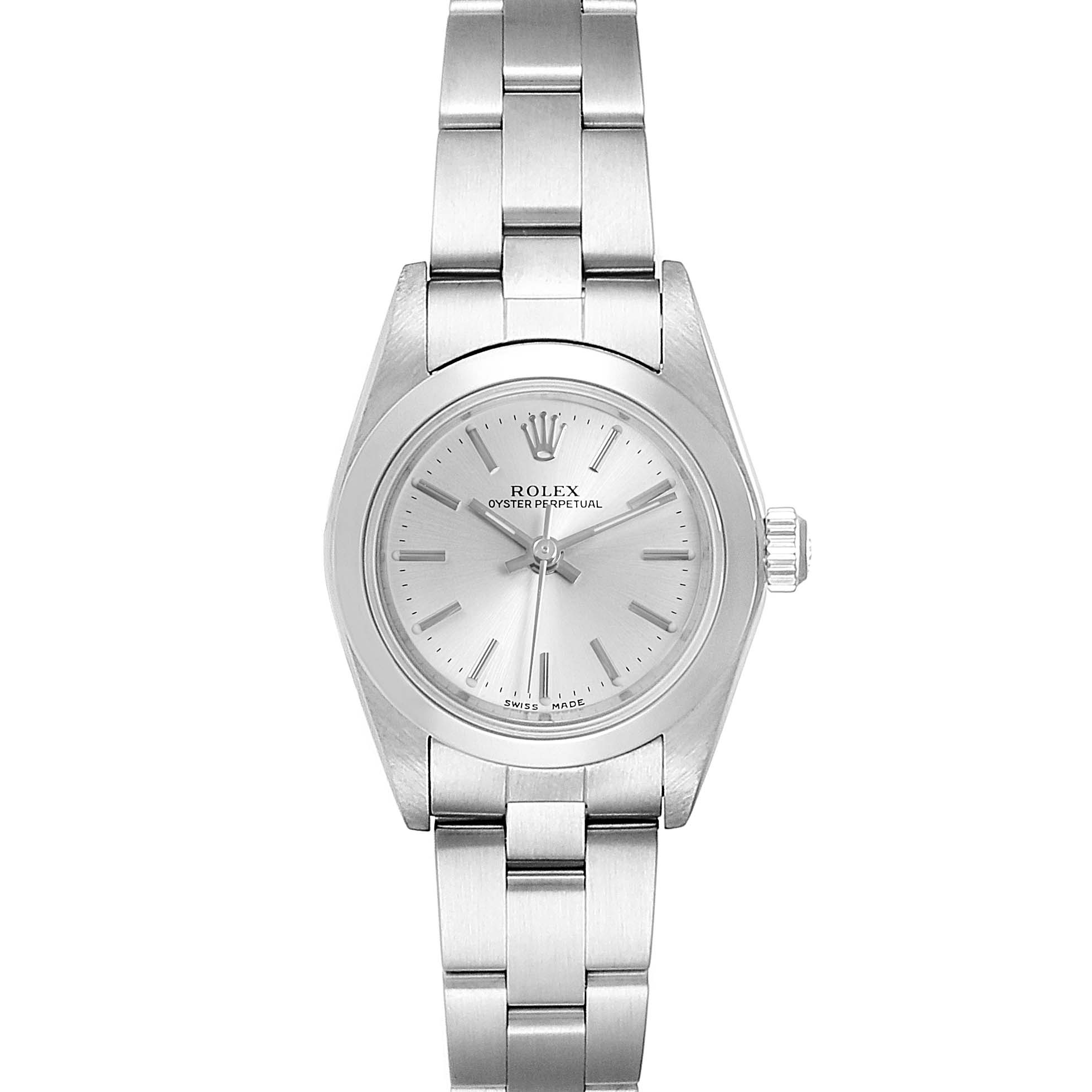 Rolex Oyster Perpetual Nondate Silver Dial Ladies Watch 76080 Box