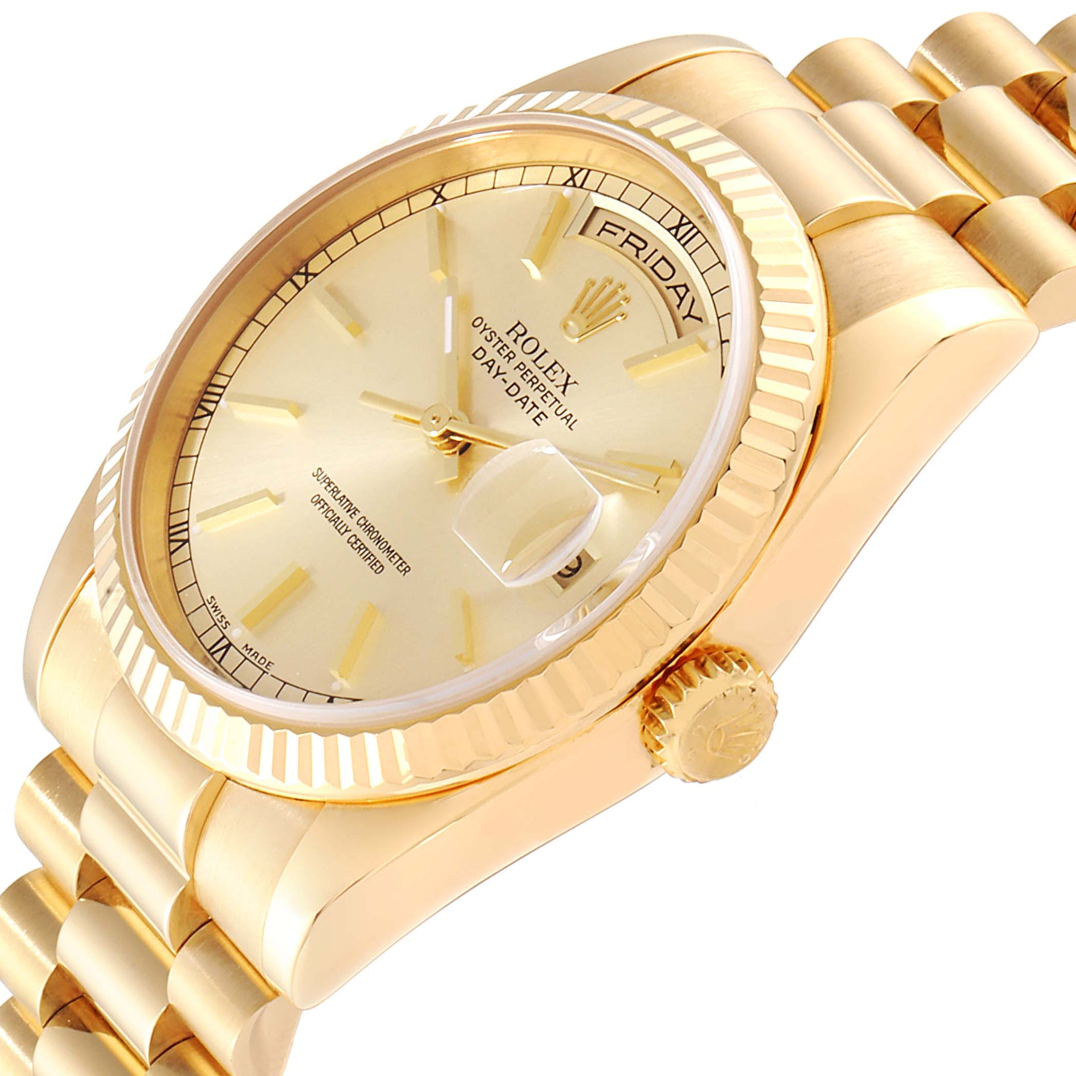 Rolex President Day Date 36 18K Yellow Gold Mens Watch 118238 SwissWatchExpo