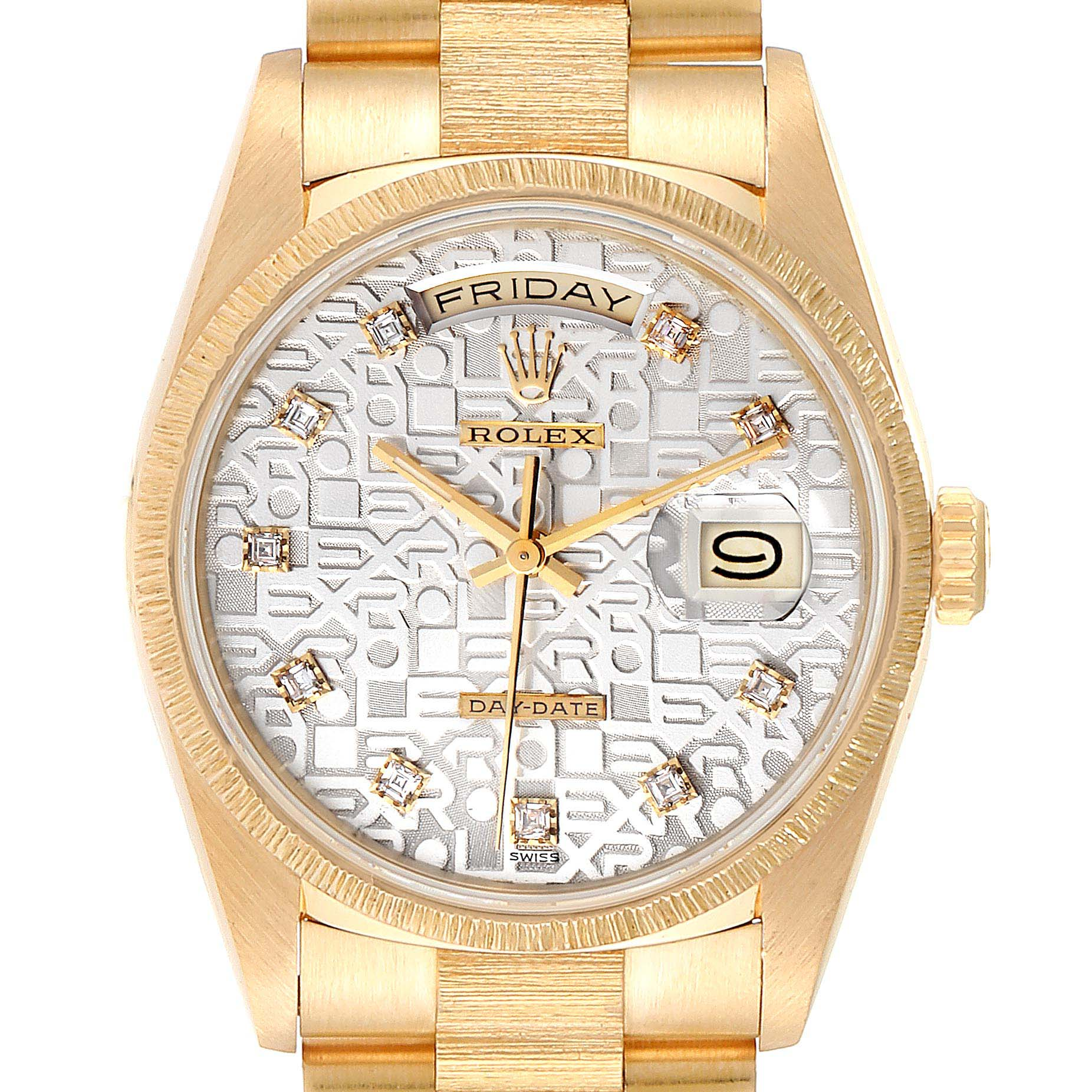 Rolex President Day-Date Yellow Gold Bark Finish Diamond Mens Watch 18248