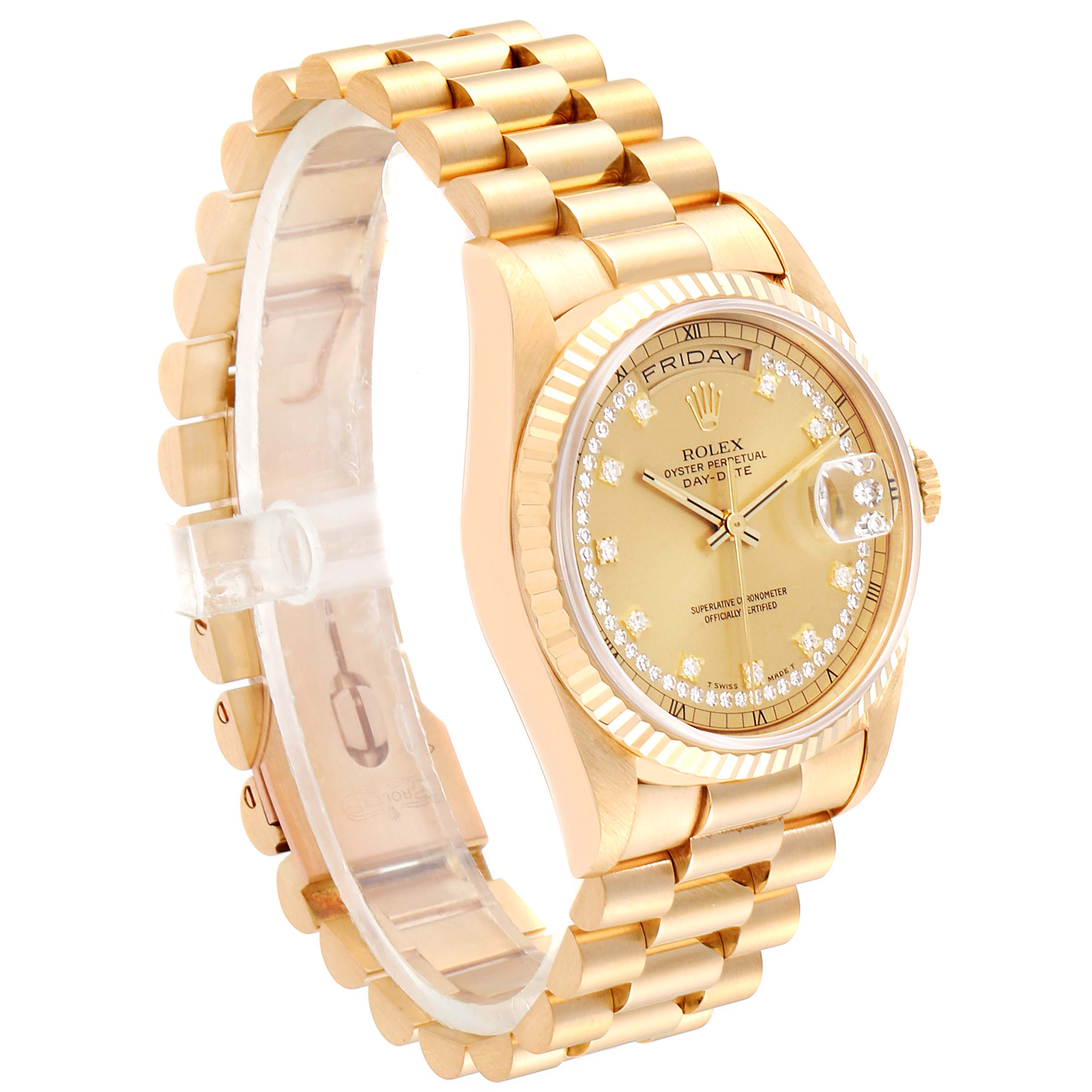 Rolex President Day-Date Yellow Gold String Diamond Dial Mens Watch 18238 SwissWatchExpo