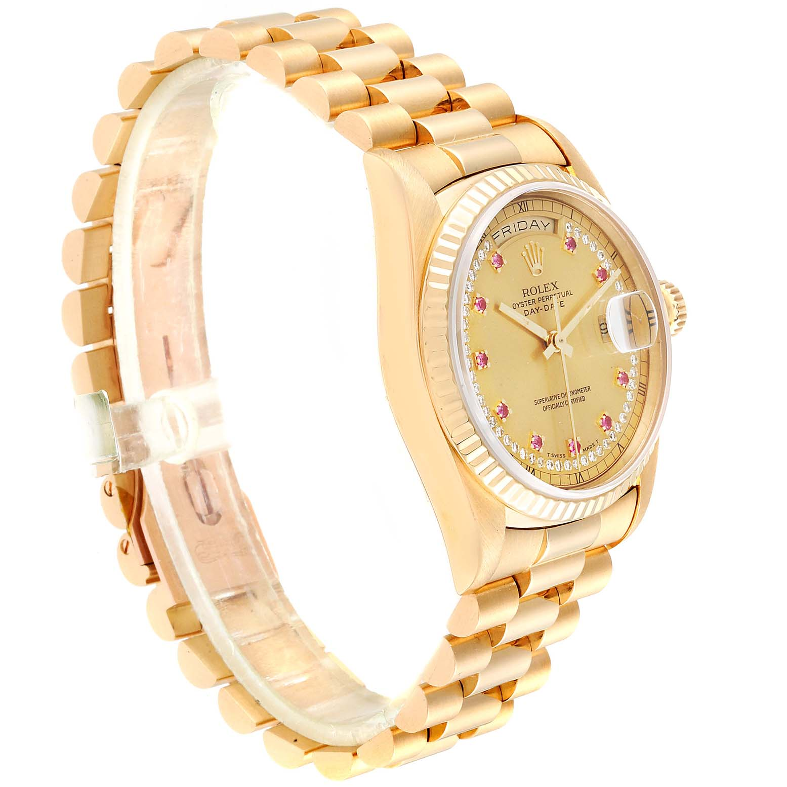Rolex President Day-Date Yellow Gold String Diamond Ruby Dial Watch 18238 SwissWatchExpo