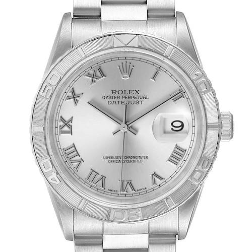 Photo of Rolex Turnograph Datejust Steel White Gold Silver Roman Dial Watch 16264