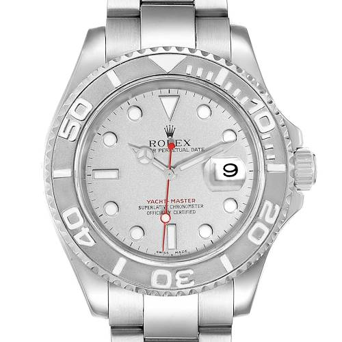 Photo of Rolex Yachtmaster 40 Steel Platinum Dial Bezel Mens Watch 16622 Box Card