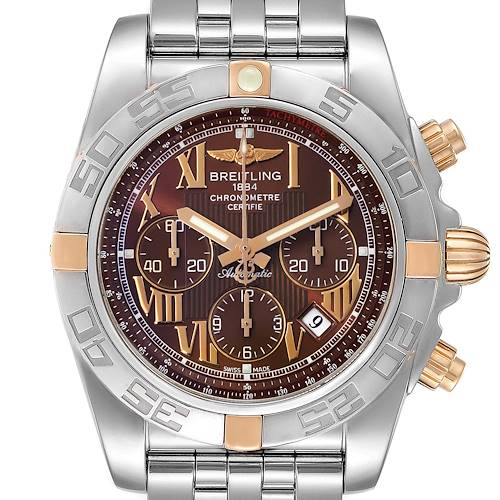 Photo of Breitling Chronomat Bronze Dial Steel Rose Gold Mens Watch IB0110