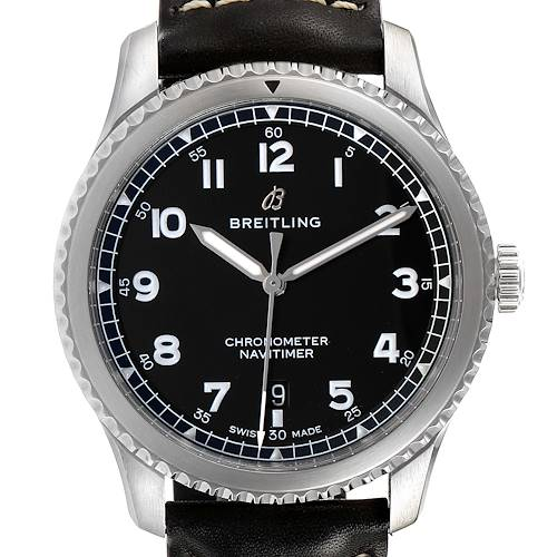 Photo of Breitling Navitimer Black Dial Leather Strap Steel Mens Watch A17314