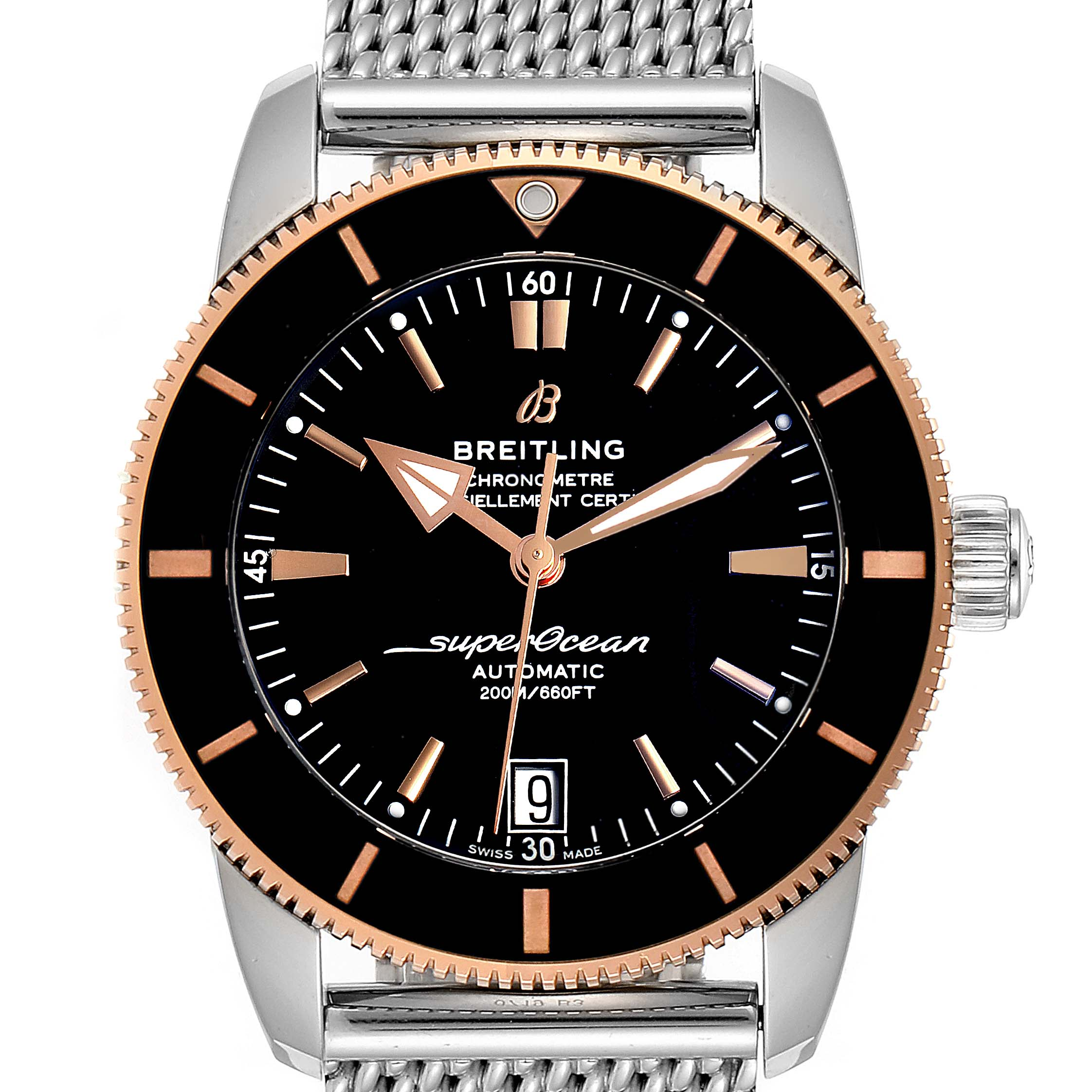 Breitling Superocean Heritage II 42 Steel Rose Gold Watch UB2010 Box Papers