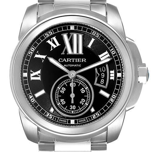 Photo of Calibre De Cartier Stainless Steel Black Dial Mens Watch W7100016