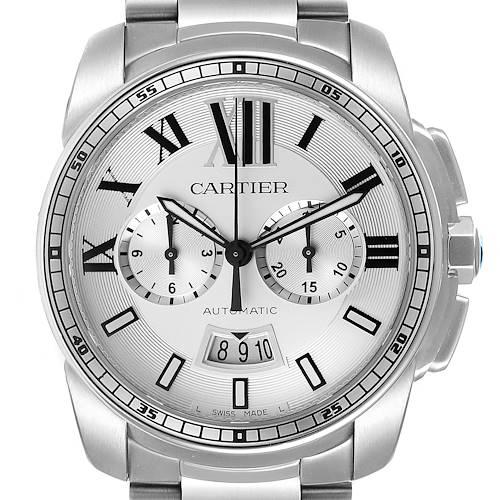 Photo of Cartier Calibre Silver Dial Chronograph Mens Watch W7100045 Box Card