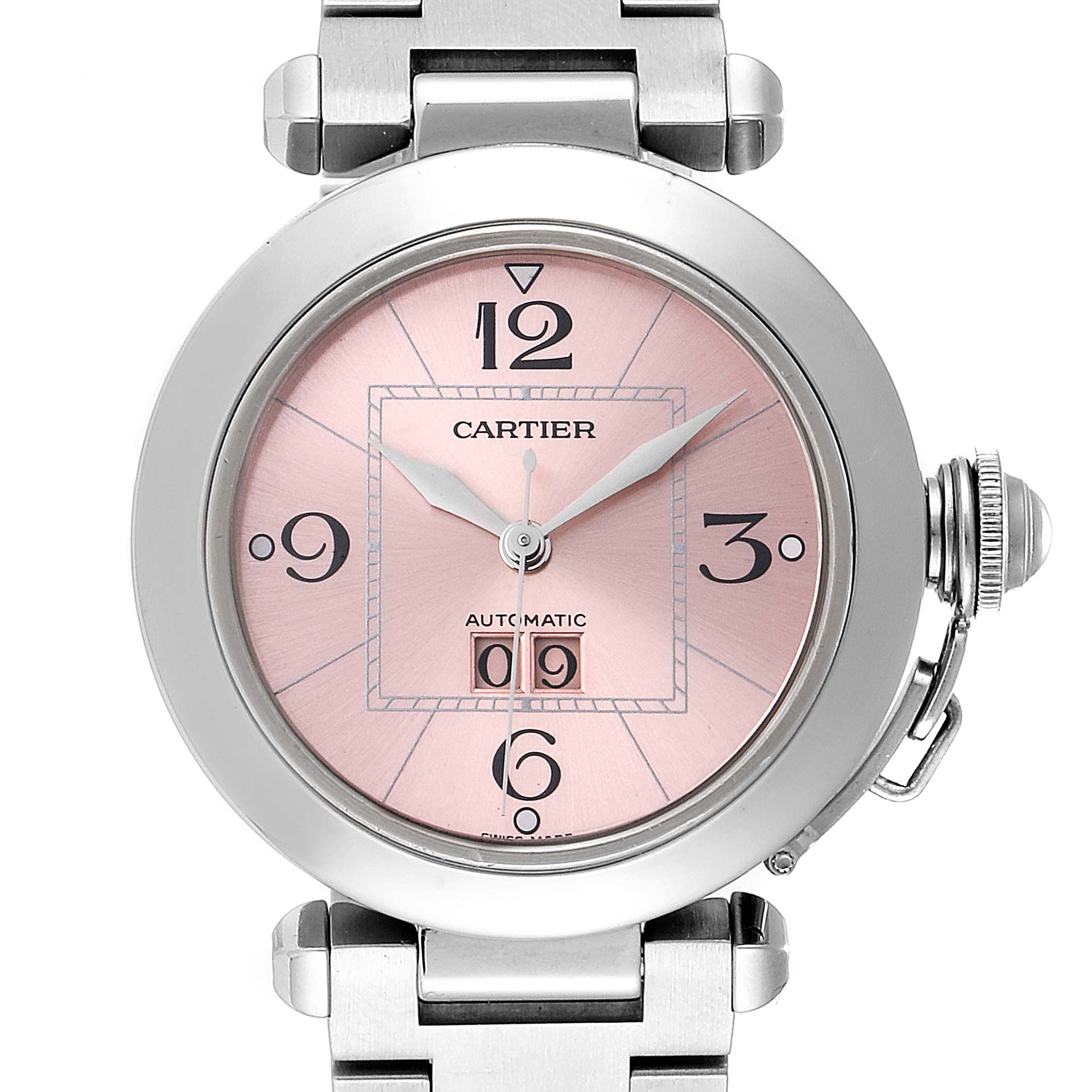 Cartier Pasha Big Date 35 Pink Dial Automatic Steel Ladies Watch W31058M7