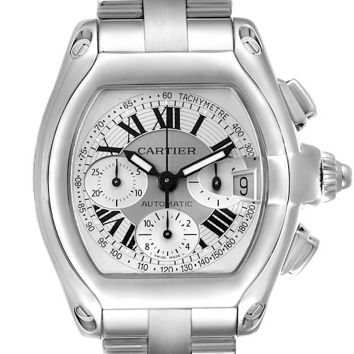 Photo of Cartier Roadster Silver Dial Chronograph Steel Mens Watch W62006X6