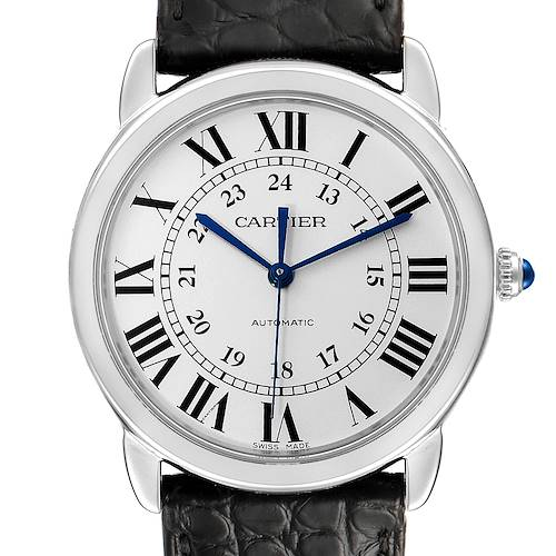 Photo of Cartier Ronde Solo Silver Dial Black Strap Automatic Watch WSRN0021 Box Papers