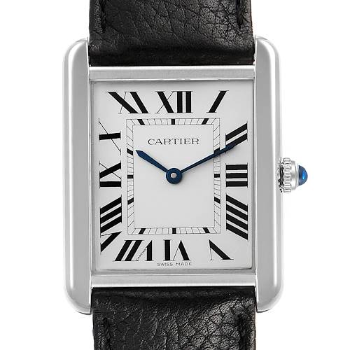Photo of Cartier Tank Solo Steel Silver Dial Black Strap Watch W1018355 Box Papers