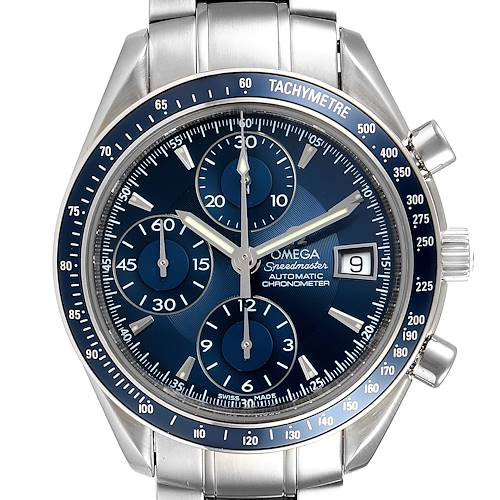 Photo of Omega Speedmaster Date Blue Dial Chronograph Mens Watch 3212.80.00
