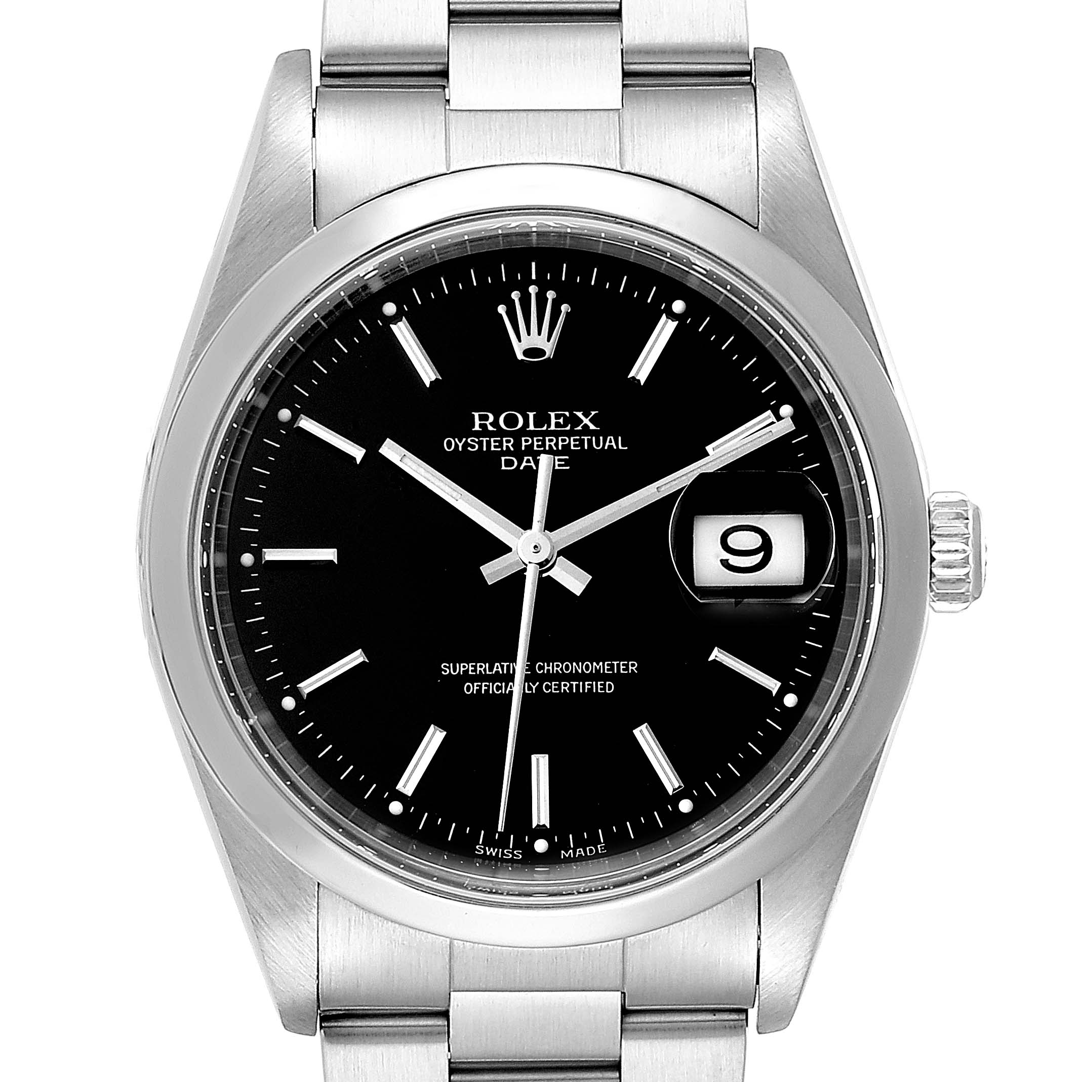 Rolex Date Black Dial Domed Bezel Steel Mens Watch 15200 Box Papers