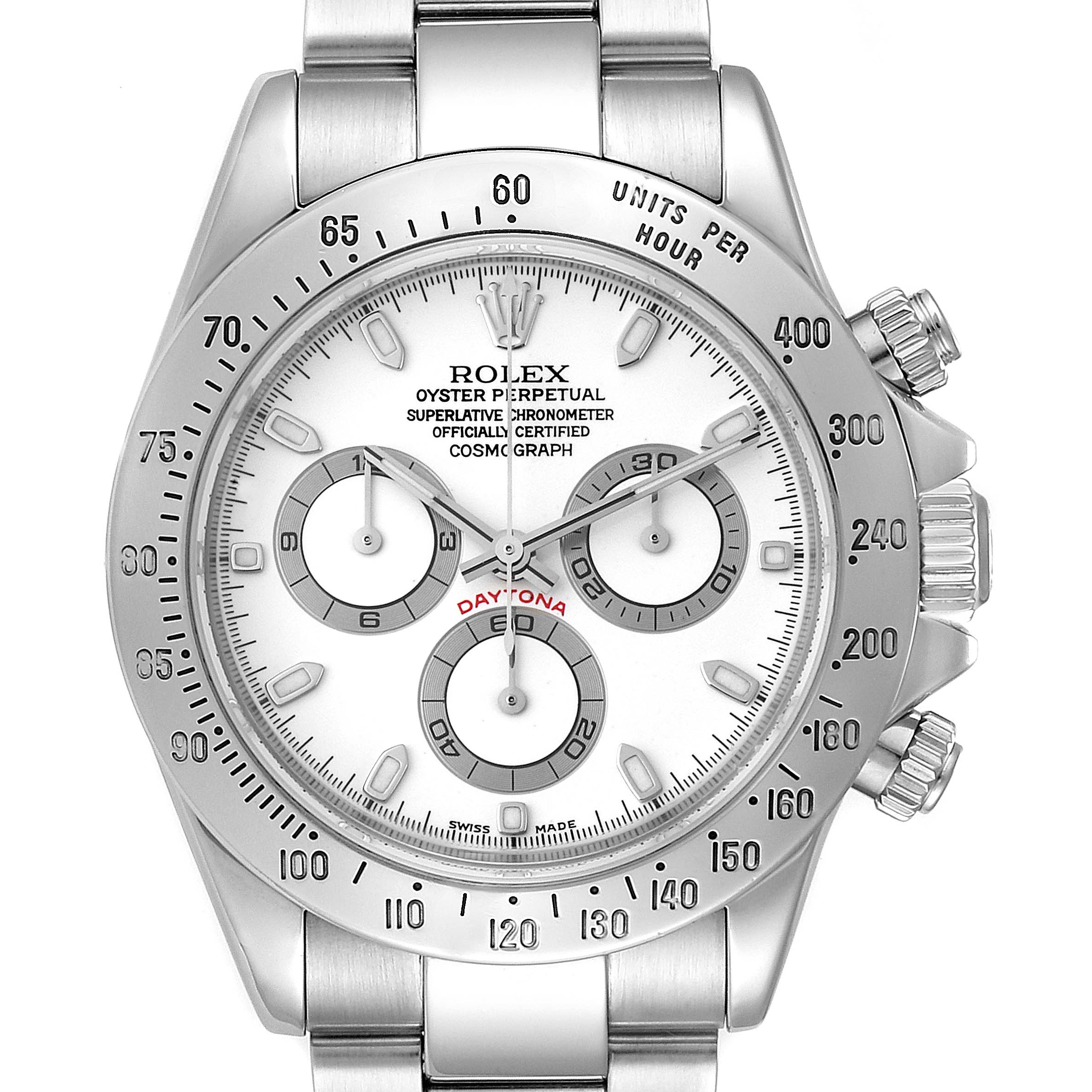 Rolex Daytona White Dial Chronograph Stainless Steel Mens Watch 116520