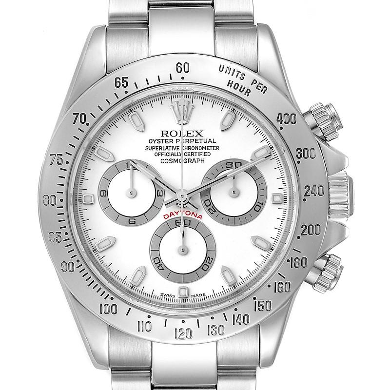 Rolex Daytona White Dial Chronograph Stainless Steel Mens Watch 116520 SwissWatchExpo