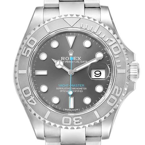 Photo of Rolex Yachtmaster Rhodium Dial Steel Platinum Mens Watch 116622 Box Card