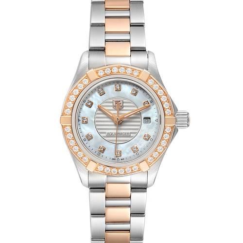 Photo of TAG Heuer Aquaracer Mother of Pearl Diamond Ladies Watch WAP1452 Box Card