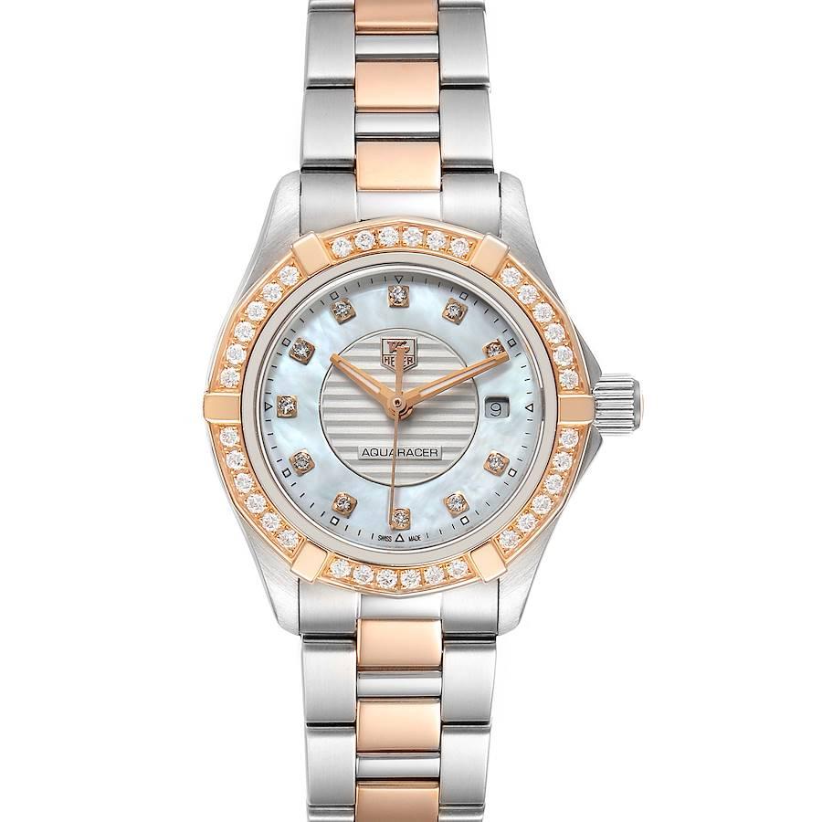 TAG Heuer Aquaracer Mother of Pearl Diamond Ladies Watch WAP1452 Box Card SwissWatchExpo