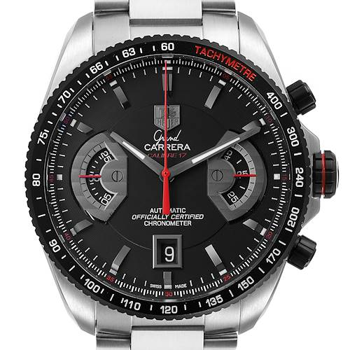 Photo of Tag Heuer Grand Carrera Black Dial Automatic Mens Watch CAV511C Box Card