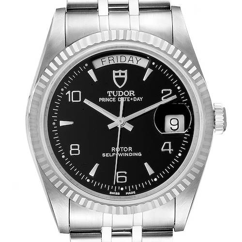 Photo of Tudor Prince Day Date Black Dial Steel Mens Watch 76214